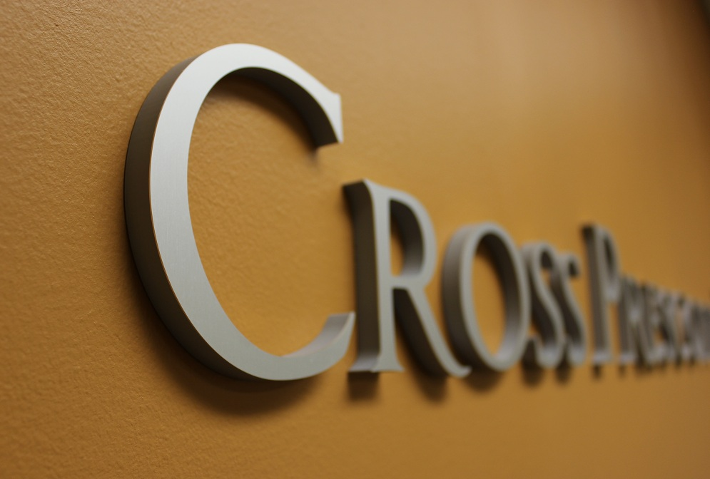 Cross Prescott Lobby Sign close up